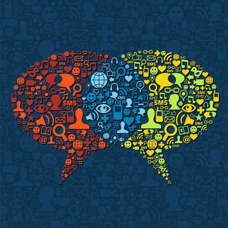 Photo pour Social media icon set in two speech bubbles communication.  - image libre de droit