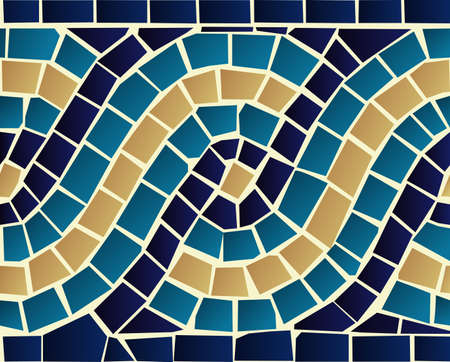 Illustration for Marine style blue wave mosaic seamless pattern background  Vector file layered for easy manipulation and custom coloring  - Royalty Free Image