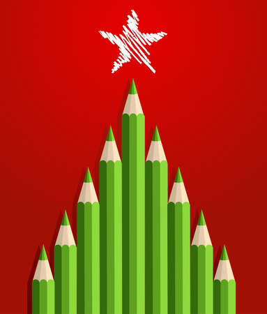 Illustration pour Green Christmas tree pencils greeting card  - image libre de droit