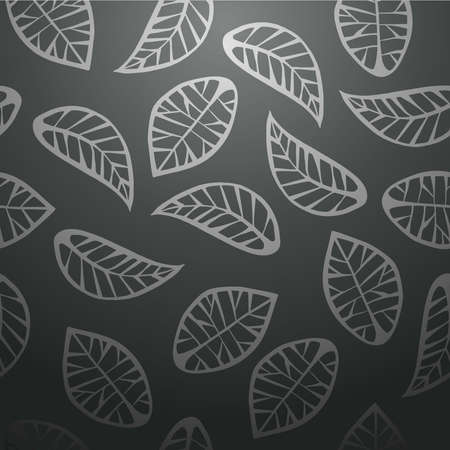 Elegant leaves abstract design seamless pattern black background. Vector illustration layered for easy manipulation and custom coloring.