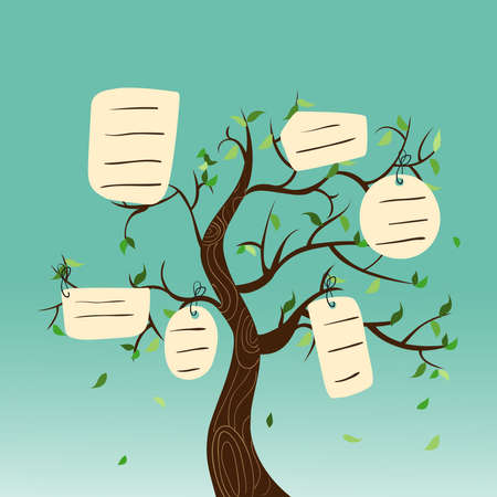 Foto de Family concept tree with hanging labels leaves. Vector file layered for easy manipulation and custom coloring. - Imagen libre de derechos