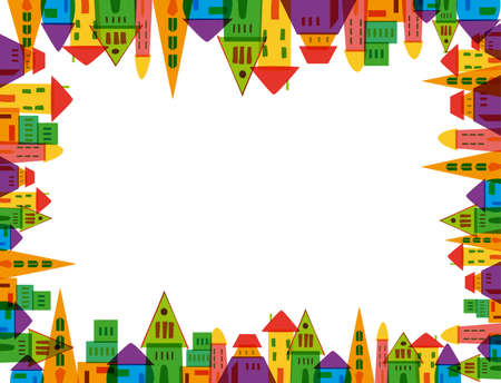 Illustration pour Colorful cute city frame over white background . Vector file layered for easy manipulation and custom coloring. - image libre de droit