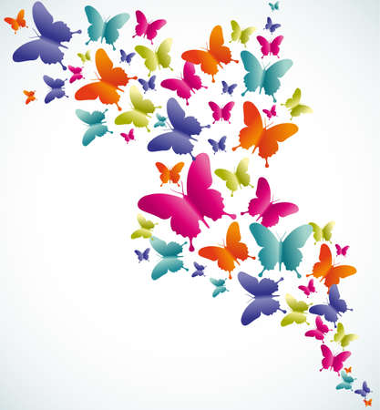 Illustration pour Spring butterfly colorful composition. Vector illustration layered for easy manipulation and custom coloring. - image libre de droit