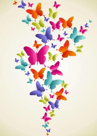 Ilustración de Spring butterfly color composition. Vector illustration layered for easy manipulation and custom coloring. - Imagen libre de derechos