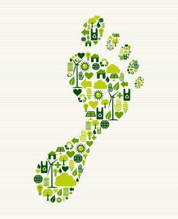 Ilustración de Eco friendly foot prints green concept splash. Vector file layered for easy manipulation and custom coloring. - Imagen libre de derechos