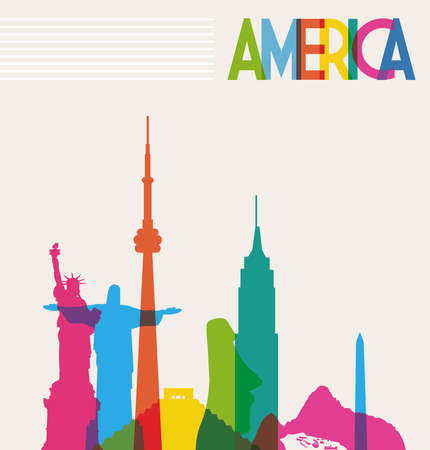 Illustration pour Diversity monuments of America, famous skyline colors transparency. Vector illustration layered for easy manipulation and custom coloring. - image libre de droit