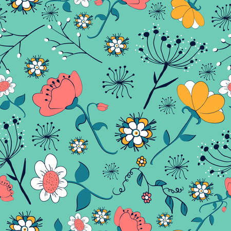 Foto de Vintage flowers seamless pattern. Vector illustration layered for easy manipulation and custom coloring. - Imagen libre de derechos