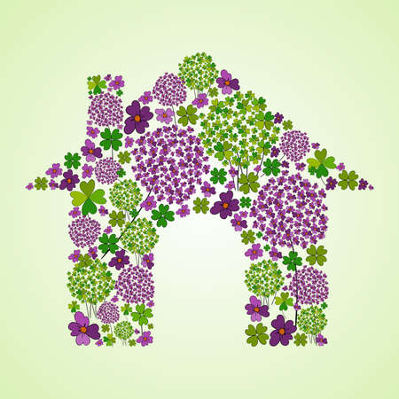 Illustration pour Colorful spring flower icons texture in green house icon shape composition background. Vector illustration layered for easy manipulation and custom coloring. - image libre de droit