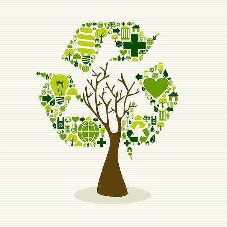 Ilustración de Save the Earth tree idea with icons set. This illustration is layered for easy manipulation and custom coloring - Imagen libre de derechos