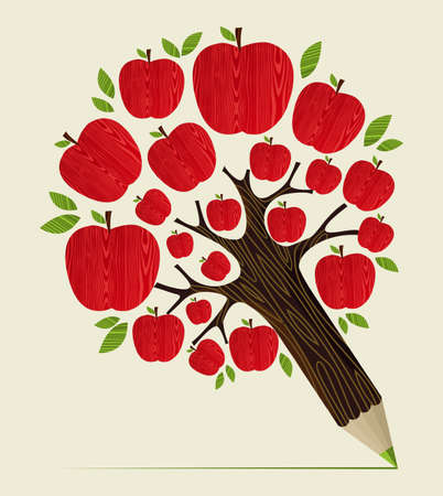 Illustration pour Delicious red apple icon in tree pencil idea. Vector illustration layered for easy manipulation and custom coloring. - image libre de droit
