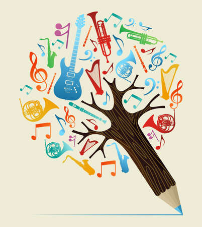 Ilustración de Music study design pencil tree. Vector illustration layered for easy manipulation and custom coloring. - Imagen libre de derechos