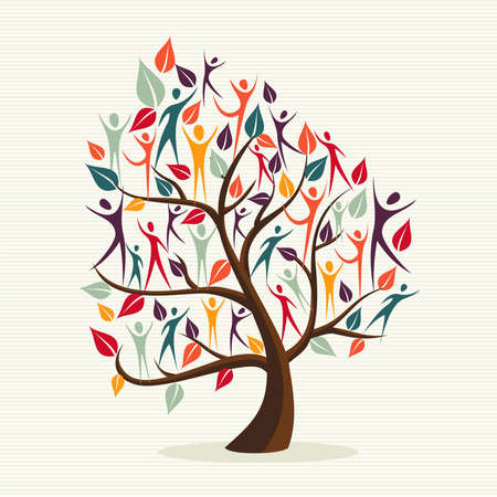 Ilustración de Family human shapes colorful leaf conceptual tree.  file layered for easy manipulation and custom coloring. - Imagen libre de derechos