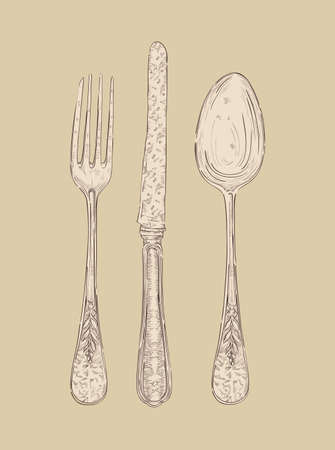 Ilustración de Hand drawn vintage silver cutlery set Fork, knife and spoon.  file layered for easy manipulation and custom coloring - Imagen libre de derechos