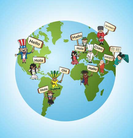 Illustration pour World diversity online language translation concept background. illustration layered for easy editing. - image libre de droit