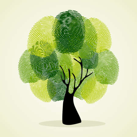 Ilustración de Go Green identity tree finger prints illustration.  file layered for easy manipulation and custom coloring.     - Imagen libre de derechos