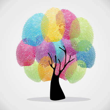 Ilustración de Diversity color tree finger prints illustration background set.  file layered for easy manipulation and custom coloring.  - Imagen libre de derechos