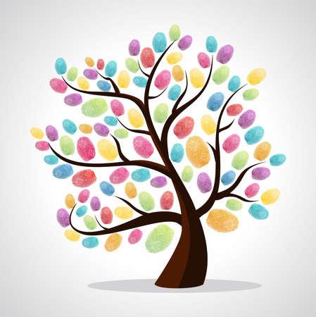 Illustration pour Diversity color tree finger prints illustration background. file layered for easy manipulation and custom coloring.   - image libre de droit