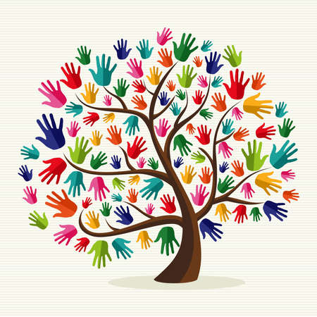 Ilustración de Diversity multi-ethnic hand tree illustration over stripe pattern background.  file layered for easy manipulation and custom coloring. - Imagen libre de derechos