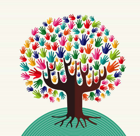 Illustration pour Colorful diversity tree hands illustration over stripe pattern background.  file layered for easy manipulation and custom coloring. - image libre de droit