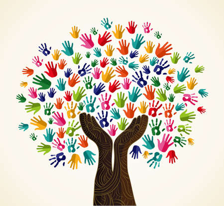 Illustration for Colorful multi-cultural integration concept tree set.  file layered for easy manipulation and custom coloring. - Royalty Free Image