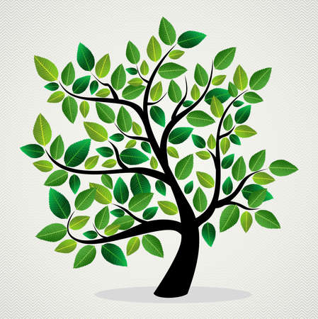Illustration pour Green leaf eco friendly tree design background.  file layered for easy manipulation and custom coloring. - image libre de droit