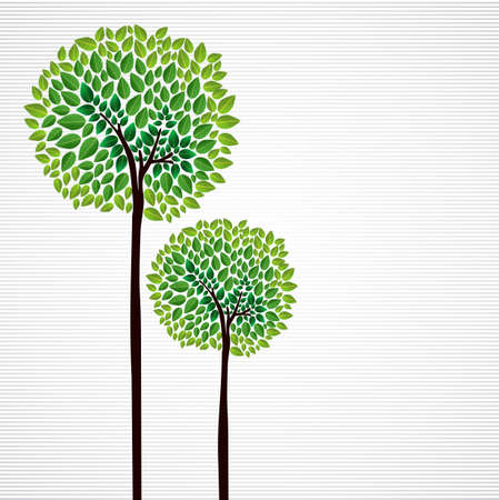 Illustration for Trendy isolated green trees forest drawing.  file layered for easy manipulation and custom coloring.    - Royalty Free Image