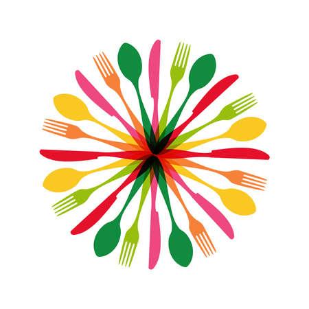 Ilustración de Colorful flatware pattern circle shape. - Imagen libre de derechos