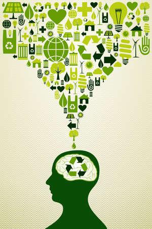 Ilustración de Think eco energy icons human head. - Imagen libre de derechos