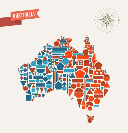 Illustration for Australia map geometric shapes illustration. - Royalty Free Image