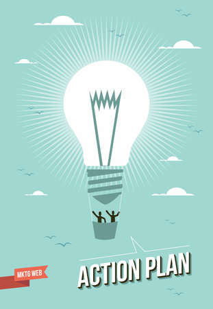 Illustration for Web marketing light bulb action plan balloon illustration.  - Royalty Free Image