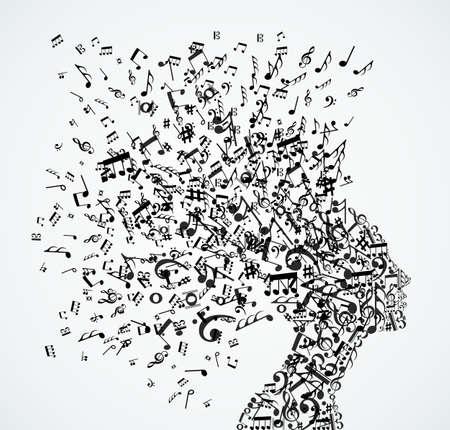 Illustration pour Music notes splash from woman's head illustration.   - image libre de droit