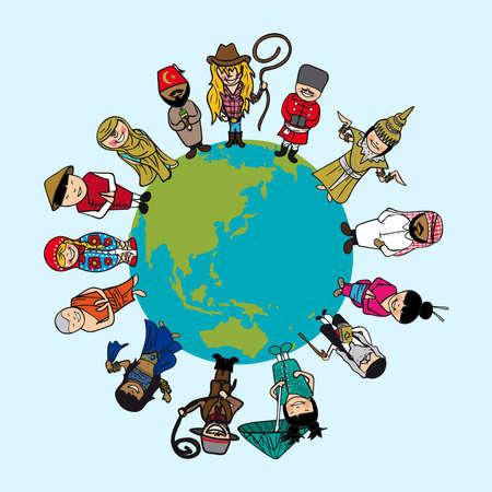Illustration pour World map, diversity people cartoons with distinctive outfit.  - image libre de droit