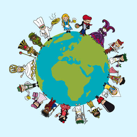 Illustration pour World map, diversity people cartoons with distinctive outfit concept illustration.   - image libre de droit
