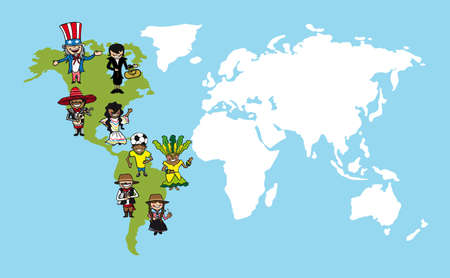 Illustration pour Diversity people concept world map, group cartoon over american continent.  - image libre de droit