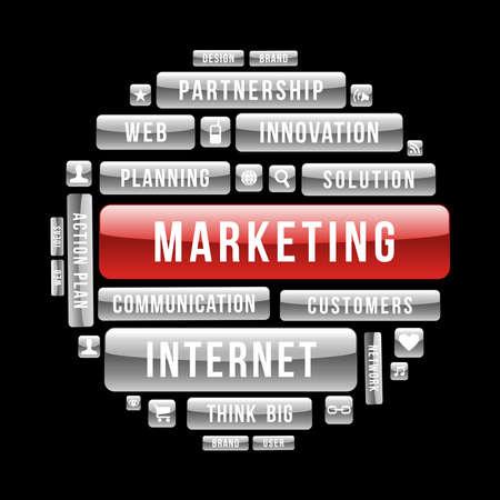 Ilustración de Internet business marketing circle glossy web buttons.  - Imagen libre de derechos