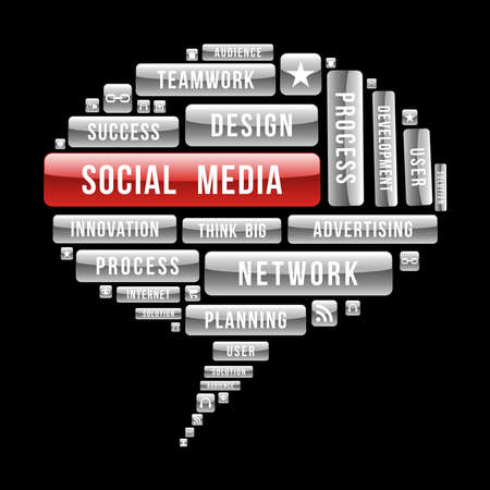 Ilustración de Social media bubble, seo concept with glossy web buttons.  - Imagen libre de derechos