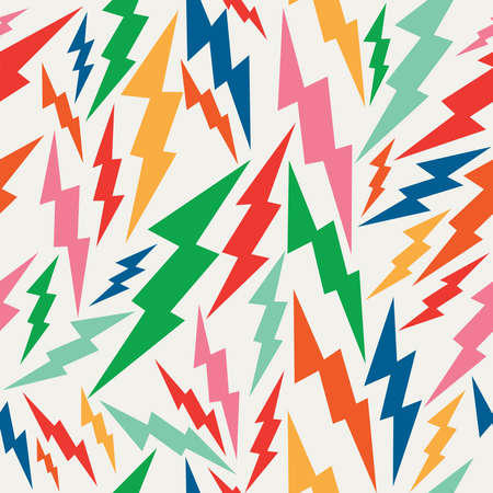 Illustration pour Vintage hipsters, lightning bolts seamless pattern background.  - image libre de droit