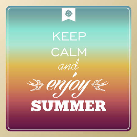 Illustration for Vintage UK keep calm and enjoy summer poster, sun, sunset, sunrise illustration   - Royalty Free Image