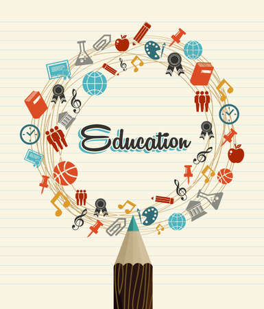 Photo pour Back to School education global icons pencil over paper sheet background.  - image libre de droit