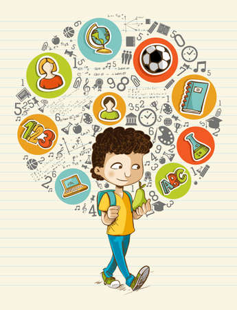 Photo for Education back to school cartoon boy colorful global icons.  - Royalty Free Image