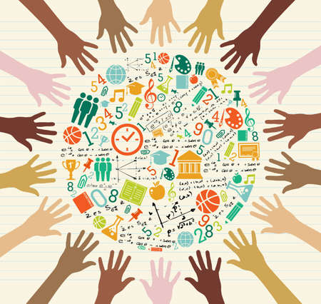 Illustration for Back to School global icons education diversity human hands. - Royalty Free Image