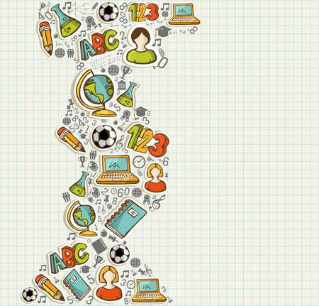 Illustration pour Education back to school colorful cartoon icons over grid sheet background.  - image libre de droit