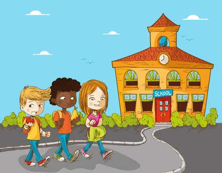 Ilustración de Back to school cartoon kids walking to school education illustration.  - Imagen libre de derechos