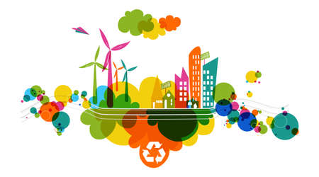 Illustration pour Go green colorful city. Industry sustainable development with environmental conservation background illustration. Vector file layered for easy editing. - image libre de droit