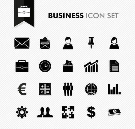 Black isolated business icon set work office elements background illustration.