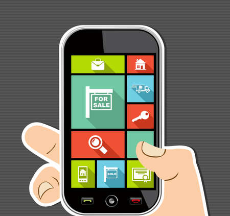 Illustration for Real Estate concept human hand holds a smart phone UI applications graphic user interface flat icons set. - Royalty Free Image