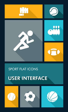Sport workout mobile applications graphic user interface flat icons set.