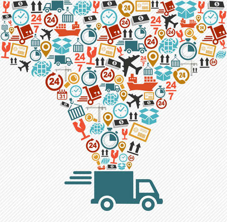 Ilustración de Shipping logistics delivery concept: speedy truck with icons splash illustration. Vector file in layers for easy editing. - Imagen libre de derechos