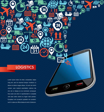Illustration pour Shipping logistics smart phone application concept icons set splash illustration. Vector file in layers for easy editing. - image libre de droit