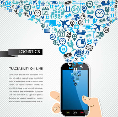 Illustration pour Shipping and logistics mobility concept: hand holds a smart phone with icons splash. Vector file in layers for easy editing. - image libre de droit